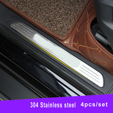 Stainless steel scuff plate Door sill sills Guards For VW TOUAREG 2011 2012 2013 2014 2015 car styling accessories new 6pcs steel inside door sill scuff plate cover guards for jeep patriot compass 2011 2015