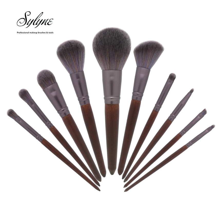 3a8526155d2e Details about Sylyne® 10pcs/set Soft Full Professional Makeup Brushes  Red-brow Wood Handle Kit