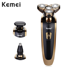 Rechargeable electric shaver washable trimmer barbeador face men shaving machine groomer beard kemei 3D electric razor
