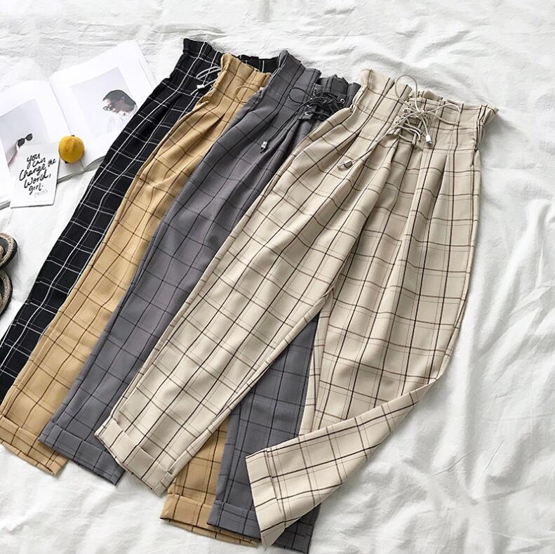 2019 New Spring Summer Casual Lace Up Ankle-length Pants Women's Plaid Loose Harem Nine Pants(China)