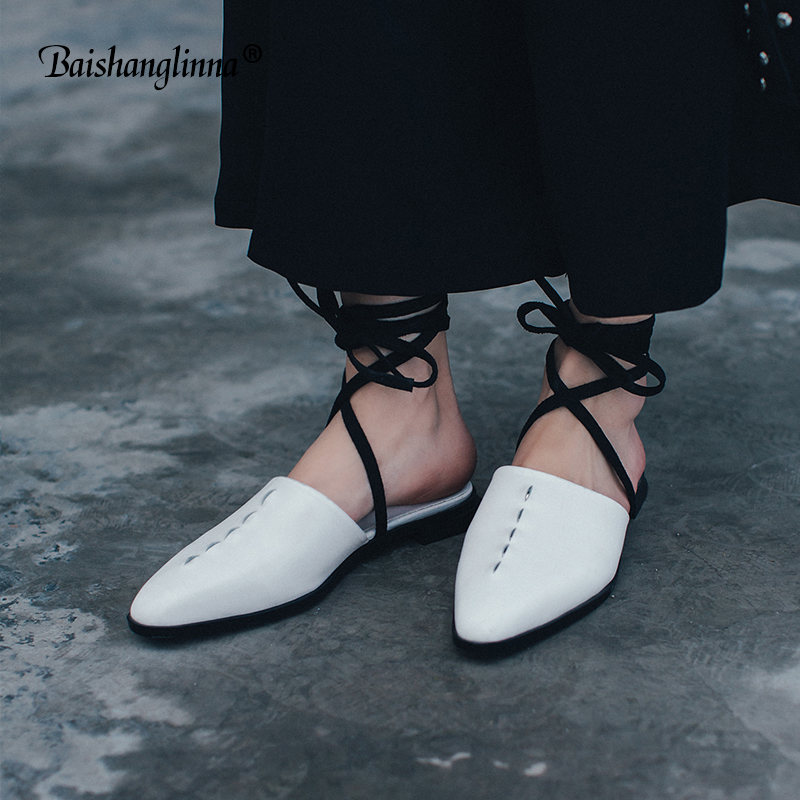 Summer fashion women sandals low heels Genuine leather lady shoes 2018 casual lace-up ankle strap shoes women sexy party sandals women sandals fashion low heels sandals for summer shoes woman ankle strap flats sandals shoes soft bottom casual shoes 35 44