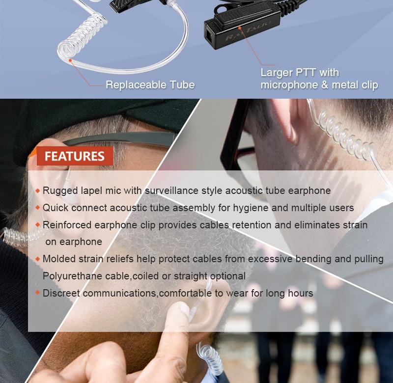 EM-4238 Noise Reduction Acoustic Tube In-ear PTT mic police / radio  earpiece for THR880i radios EM-4238
