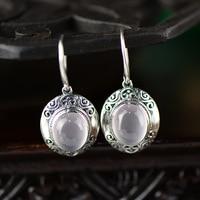Earings Fashion Jewelry Inlaid Jewellery Wholesale Natural Crystal Powder Eardrop Thai Earrings Retro Fashion Furong Stone Drop
