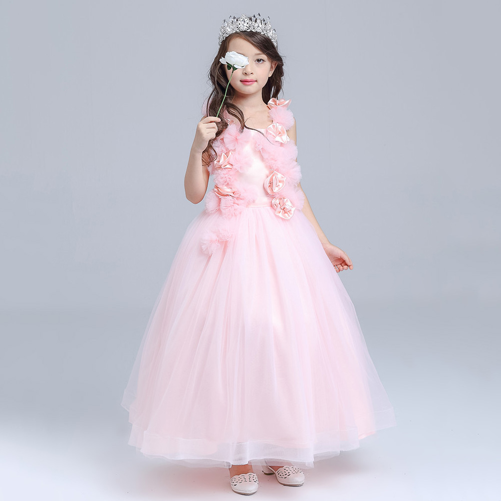 ABWE Best Sale DMfgd Maggie Pink Long Qi Children's Costumes Kindergarten graduation dress girls wedding princess Tutu abwe 4x a