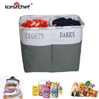 ICESTCHEF 2 Grid Dirty Laundry Basket Collapsible Bathroom Laundry Hamper Bag Oxford Cloth Storage Basket Waterproof