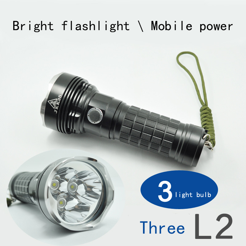 3 core L2/T6 super bright flashlight Super long-range rechargeable Hunting night ride JKK35 charging treasure
