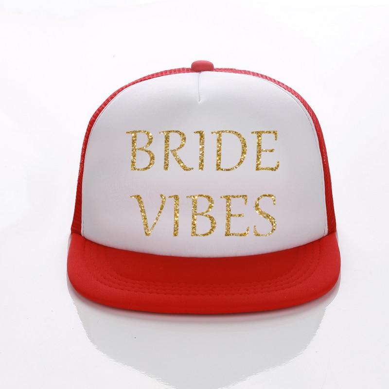 US $9 0 |DongKing Free Shipping BRIDE VIBES Gold Glitter Letters Trucker  Caps Summer Mesh Baseball Cap Adjustable Hip Hop For Men Women -in Baseball