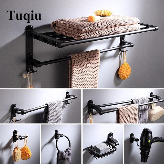 Bathroom Accessories Set E Aluminum Black Bath Hardware Sets Towel Rack Paper Holder Toilet Brush
