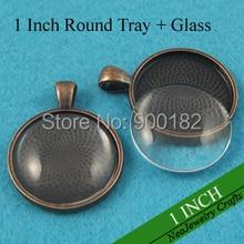 1 дюймовый круглый подвесной лоток, 25 мм античная медь кулон настройки+ соответствующие кабошоны из прозрачного стекла(200 лотков+ 200 стекла