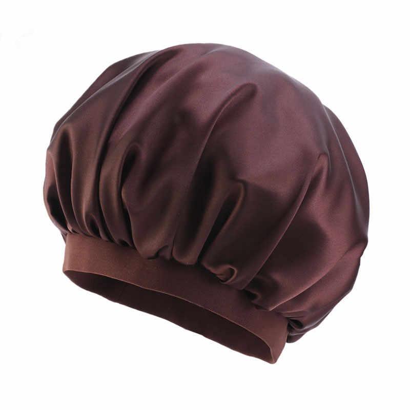 Женская эластичная атласная шелковая шляпа, повязка на голову, эластичная Ночная шапочка для сна, Мягкие накладки для выпадения волос, шапка, аксессуары для волос