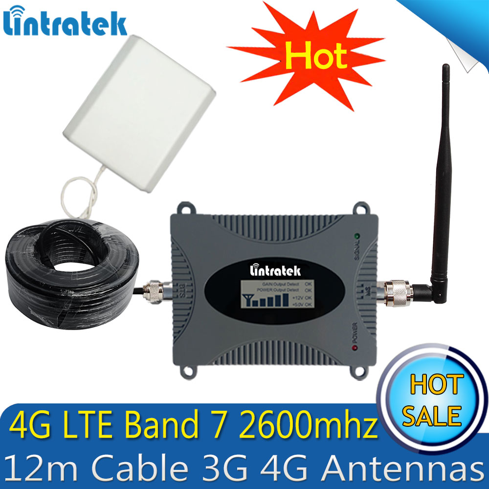 Lintratek 2600 Mhz 4G (bande FDD 7) répéteur de Signal de téléphone portable 65dB LTE 4G amplificateur de Signal Mobile cellulaire antenne 4G