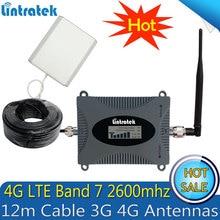 Lintratek 2600 mhz 4g (banda fdd 7) repetidor de sinal de telefone celular 65db lte 4g celular amplificador de reforço de sinal móvel 4g antena