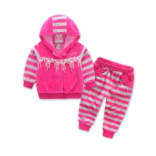 New style spring and autumn set with a hood before open buckle decoration sequin lace long-sleeve sports set female child