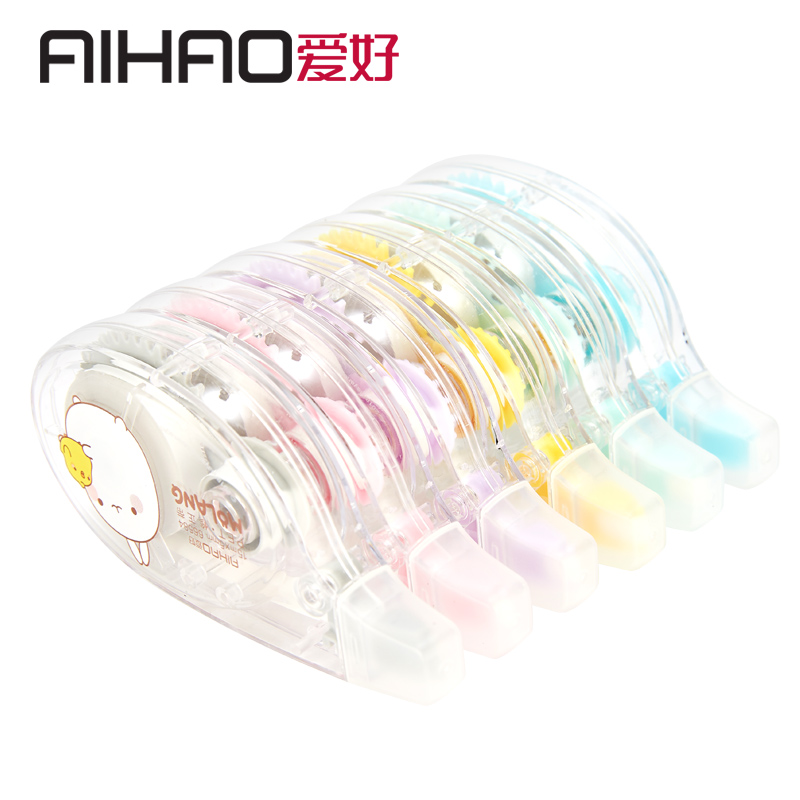 AIHAO Wave Of Rabbit Clear Fresh Air Mass Correction Tape With Lovely Students Creative Correction With Altered Zone 6pcs/lot