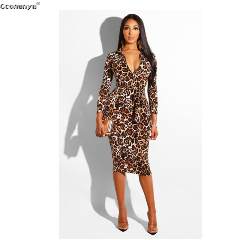 2019 Sexy Leopard Dress Women Long Leopard Print Pencil Woman Dress High Waist Lady Leopard Party Dress Women Elegant Dresses