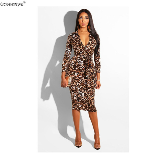2019 Sexy Leopard Dress Women Long Leopard Print Pencil Woman Dress High Waist Lady Leopard Party Dress Women Elegant Dresses