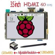 Raspberry pi 3.5 polegada hdmi lcd, touchscreen 60 fps alta velocidade melhor 480*320 1920*1080 do que 5 polegadas e 7 polegadas