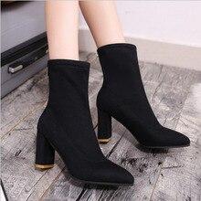 Women Boots Ankle 2018 Winter Shoes Fur Chunky Heel Womens Zipper Round Toe Brand Woman Botas Black Plus Size