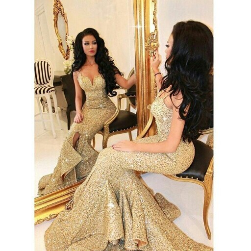 Gold Spaghetti Strap Deep Sweetheart Sequin Mermaid Prom Dress With