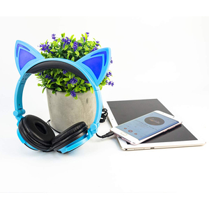 Image 2 - LIMSON Wired Kids Blue Headphones Foldable Cute Animal Cat Ear Earphone for Smartphone PC Computer MP4