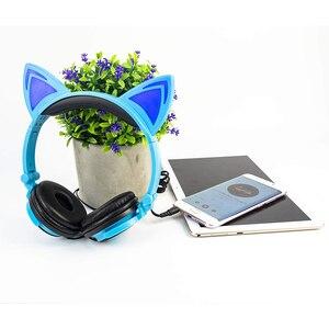 Image 2 - LIMSON auriculares azules con cable para niños, auriculares plegables con Oreja de Gato Animal bonito para Smartphone, PC, ordenador MP4