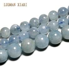 Luoman xiari AAA Натуральный аквамарин круглый камень бусины для самостоятельного изготовления ювелирных изделий браслет ожерелье материал 6-8 мм нить 15''