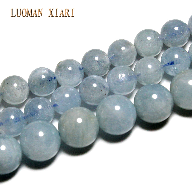 LUOMAN XIARI AAA Natural Aquamarine Round Stone Beads For Jewelry Making DIY Bracelet Necklace Material 6-8mm Strand 15'' 8mm 6 12 color including buddha skull beads elastic string beads set round natural stone beads for jewelry making bracelet diy