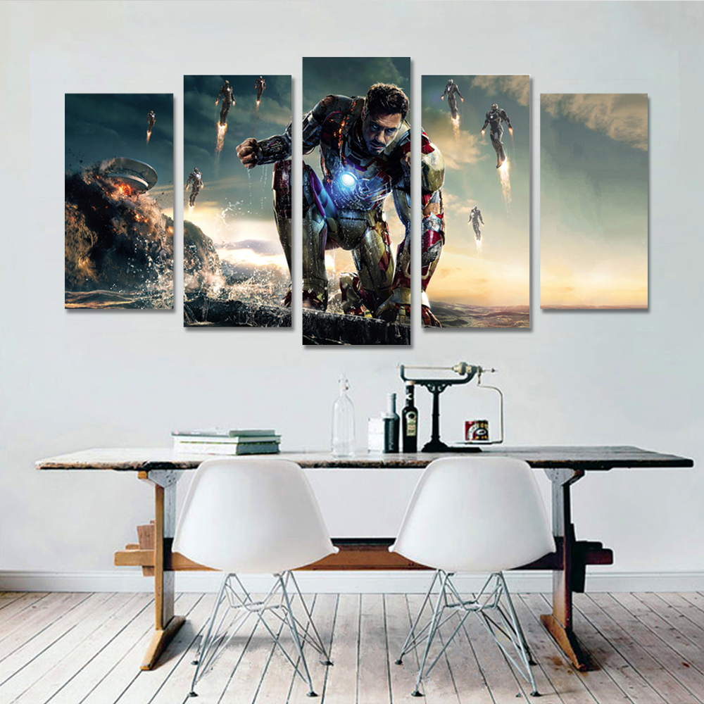 Canvas Painting Iron Man Wall Pictures For Living Room Decoration Mural Posters And Prints Marvel Home Pictures in Painting Calligraphy from Home Garden