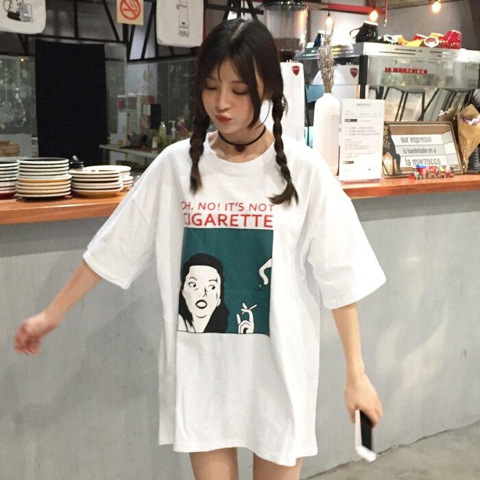 T Shirt Woman  Summer Fashion Tee Shirt Korea Ulzzang Harajuku Long Style Print Funny T