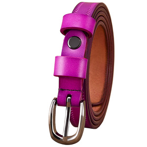 Image 2 - Narrow genuine leather belts for women Fashion Pin buckle waist belt female for jeans Cow skin girdle for dresses width 2.3 cm