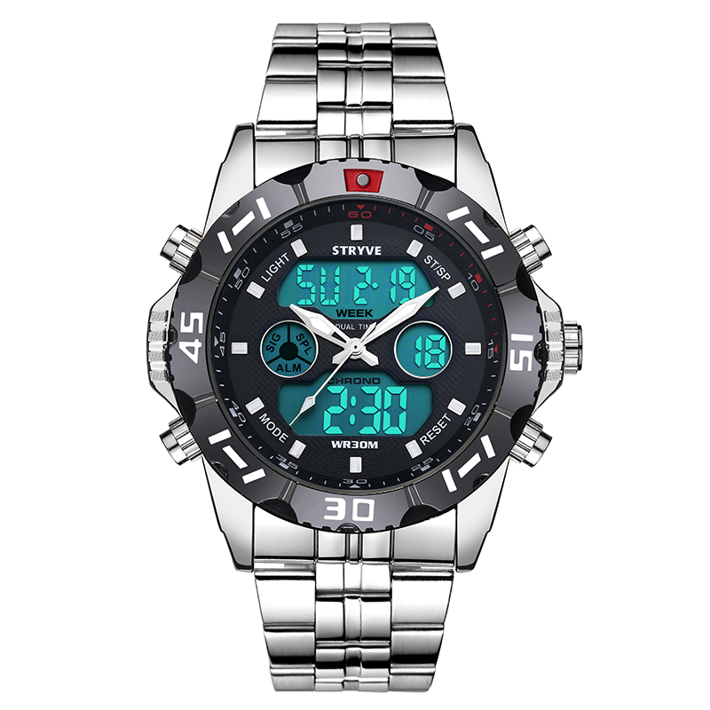 Stryve 8011 Relojes Brand Waterproof Military Sport Watches Men Stainless Steel Digital Quartz Dual Display Watch montre hommeDigital Watches   -