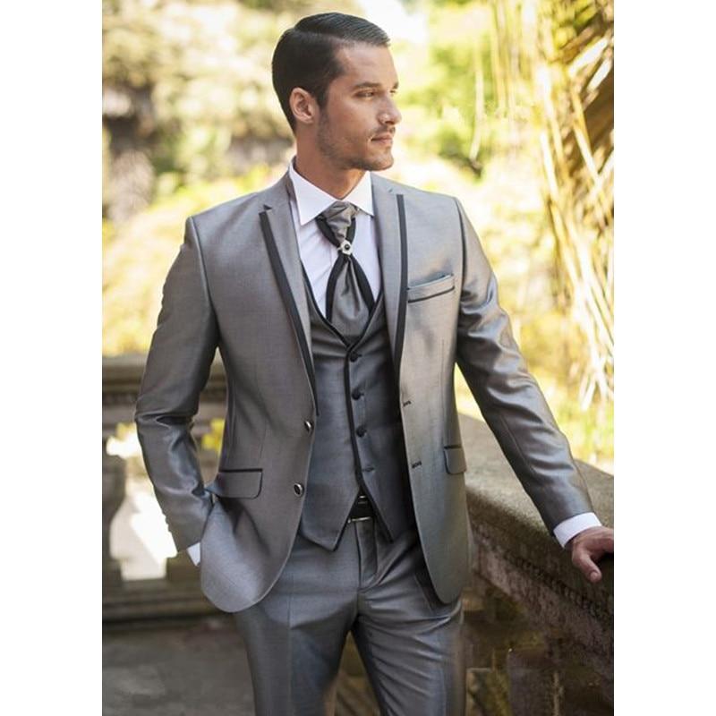 2020 Custom Made Sliver Groom Groomsmen Mens Suits Tuxedos For Prom Wedding (Jacket+Pants+Vest) Men Suit Set Slim Costume Homme