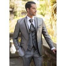 2020 Custom Made gümüş damat Groomsmen erkek takım elbise smokin balo düğün (ceket + pantolon + yelek) erkek takım elbise seti ince kostüm Homme