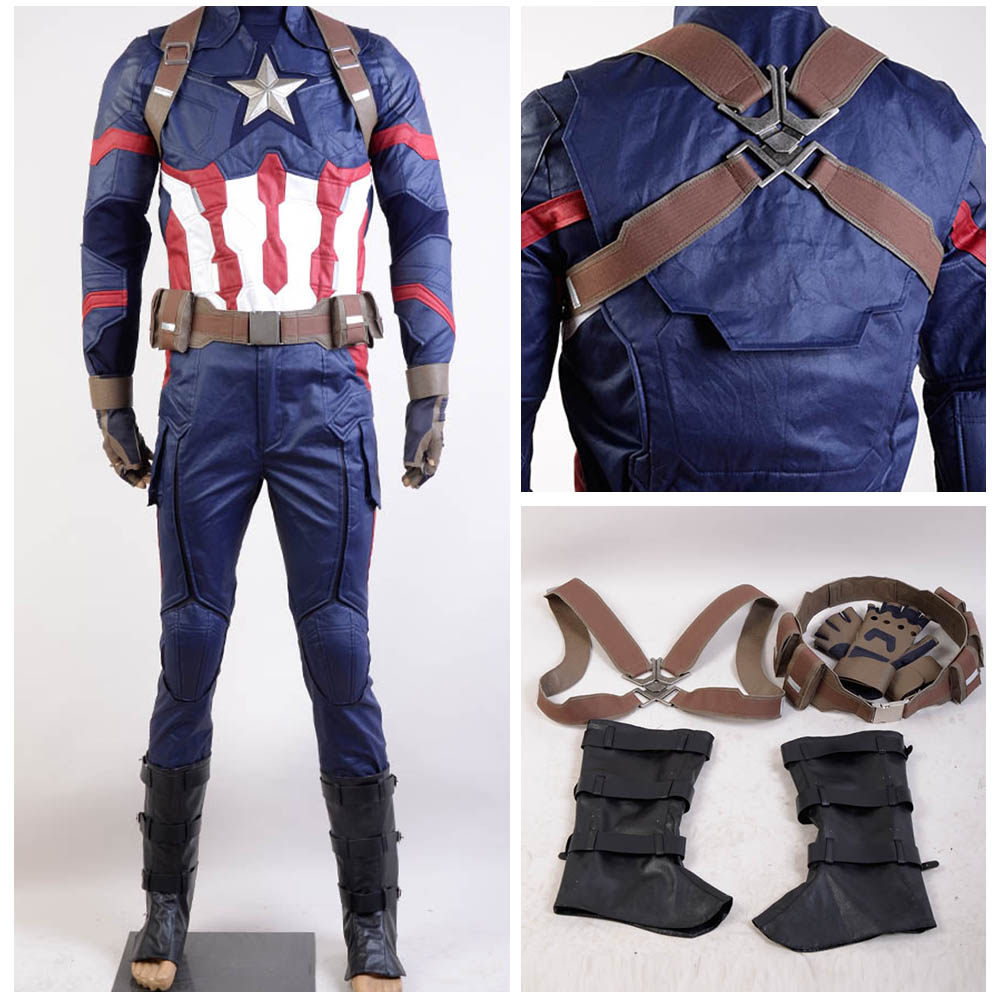 Marvel The Avengers Captain America Civil War Cosplay Costume Adult Men Steve Rogers Cosplay Costume Halloween Carnival