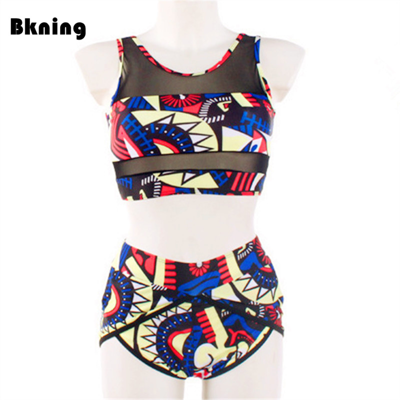 56a56e32798ac High-Waisted Bikini Print African Swimwear Women Plus Size Swimsuits 2  Piece Brazilian Bathing Suit Bib High Neck Retro 3XL 2XL