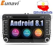 Eunavi 2 Din Android 8,1 аудио автомобильный DVD плеер gps радио для VW GOLF 6 Polo Bora JETTA B6 PASSAT Tiguan; Skoda OCTAVIA OBD