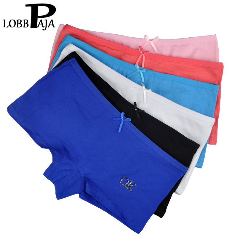 LOBBPAJA Lot 6 pcs Woman Underwear Women Cotton   Panties   Boxers Shorts Boyshorts Underpants Ladies Intimates Lingerie for Women