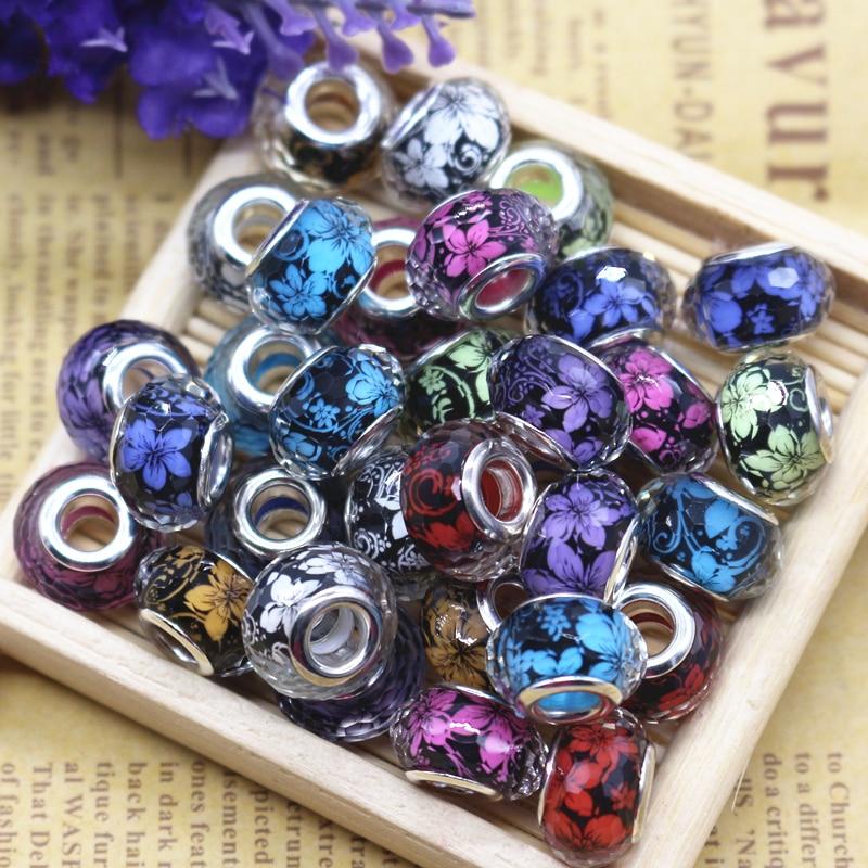 Prix pour 14mm Argent Plaqué Cordon 100 Pcs Mixte Couleur Fleur Conception Perles Charms Fit Bijoux Bracelet Pour La Main Perles