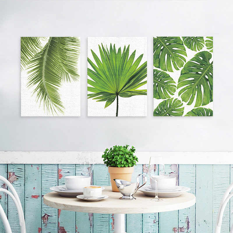 Fashion Nordic Canvas Painting Modern Green Plant Leaf Prints Art Wall Stickers Pictures Living Room Unframed Poster Decor