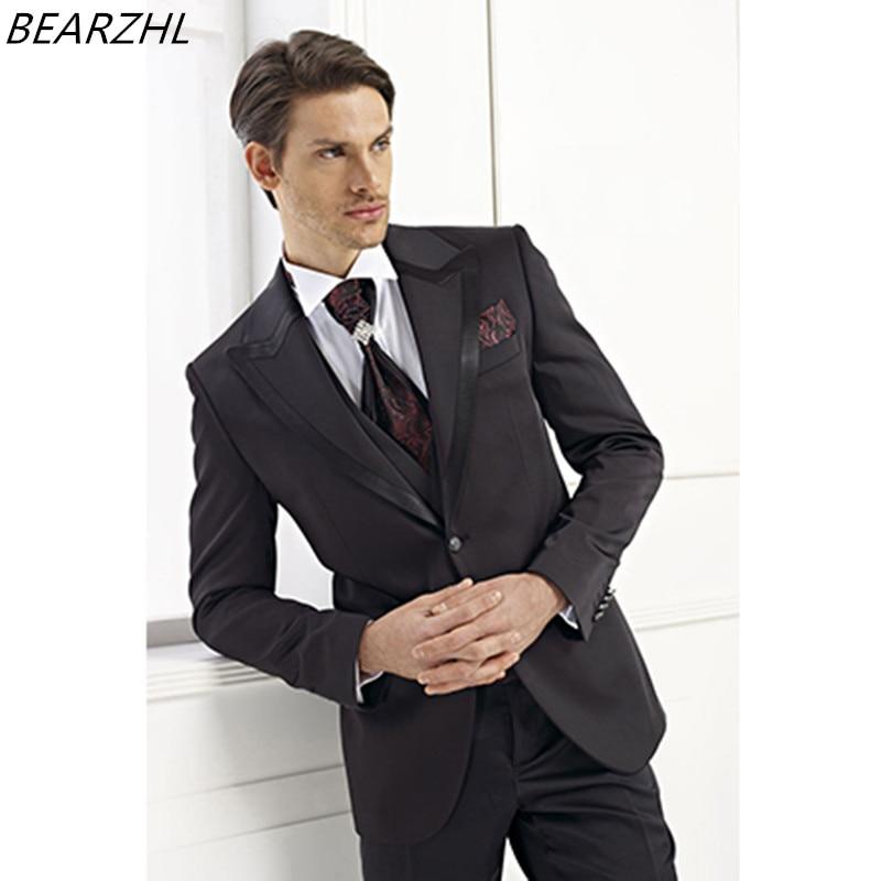 ᗗgrooms wedding lapel tuxedo suit black for men 3 piece suits ...