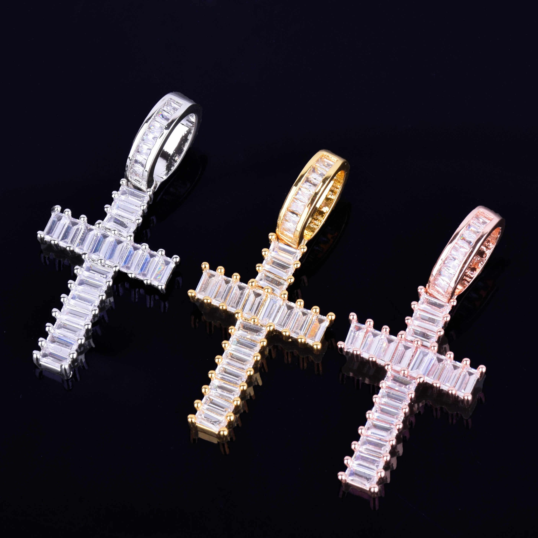 Mini bagietki krzyż wisiorek naszyjnik z 4mm łańcuch tenisowy złoto srebro AAA Cubic cyrkon męska kobiety Hip hop rock biżuteria