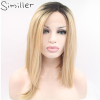 Similler 14 Inch Yaki Straight Short Bob Lace Front Wigs Synthetic Blonde Ombre Color Heat Resistant Fiber Hair For Women