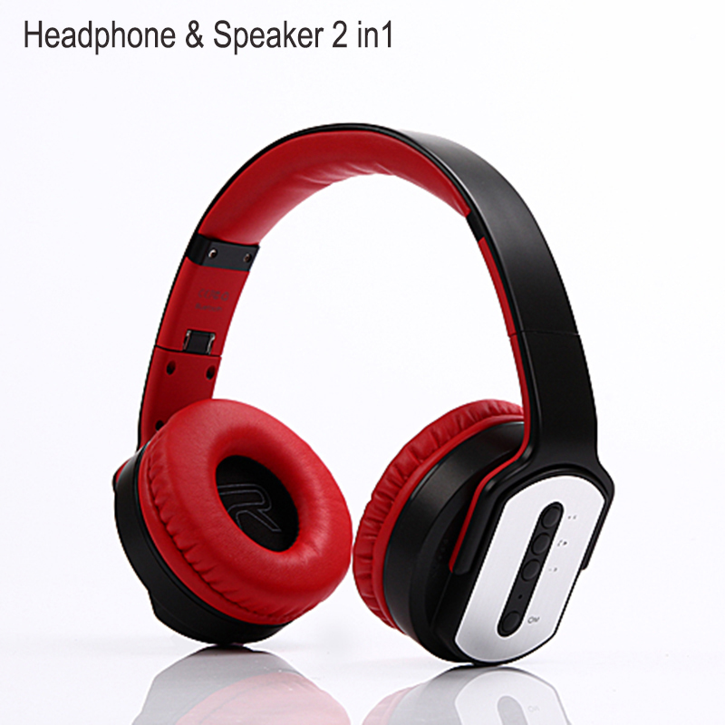 High Quality 2 in 1 Wireless Bluetooth Headphones Foldable Speaker Stereo Headset Portable Gaming Big Earphone For Mobile Phones 2 in 1 wireless bluetooth earphone