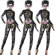 2017 Fancy Long Skeleton costume Dress Adult Halloween Zombie Costume Sexy Women Club Wear Gothic Costume