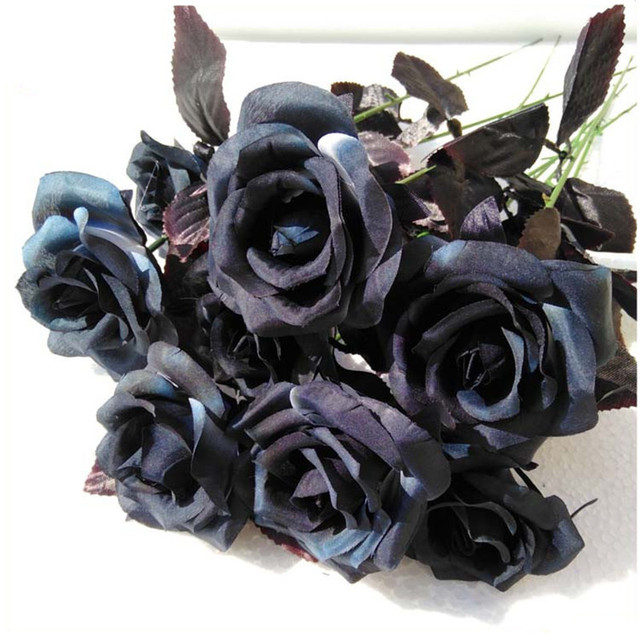 Flone artificial silk black rose bouquet simulation flowers flone artificial silk black rose bouquet simulation flowers halloween black single branch rose home wedding party mightylinksfo