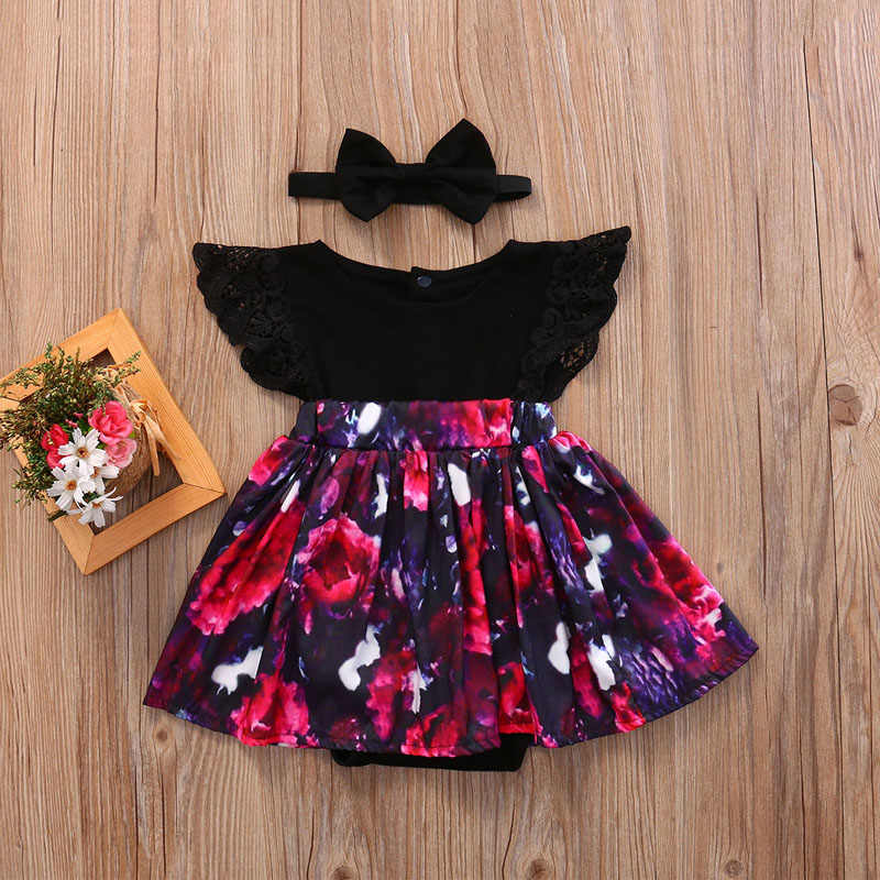 2018かわいいファッション幼児キッズベビー女の子妹家族マッチング衣装花柄レースジャンプスーツロンパースとドレスヘッドバンド