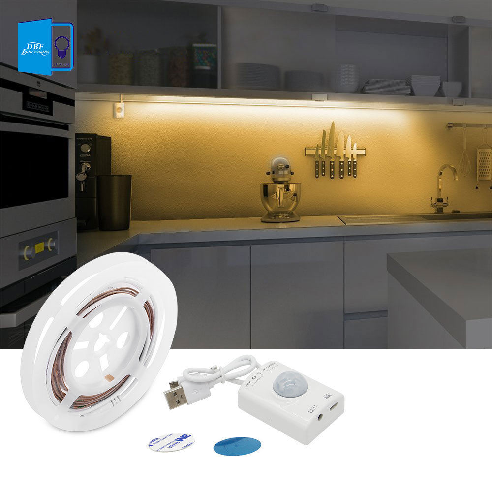 Motion Activated Bed Light, USB Rechargeable Flexible Strip Sensor Night Light with Automatic Shut Off Timer led Cabinet light