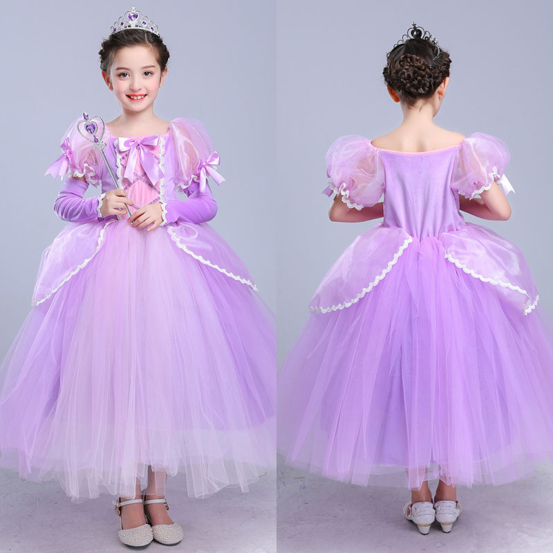 Formal Girls Princess Sofia Rapunzel Dresses Halloween Gown Long Party Dress Children Clothing Kids Cosplay Costume Masquerade working equids of ethiopia