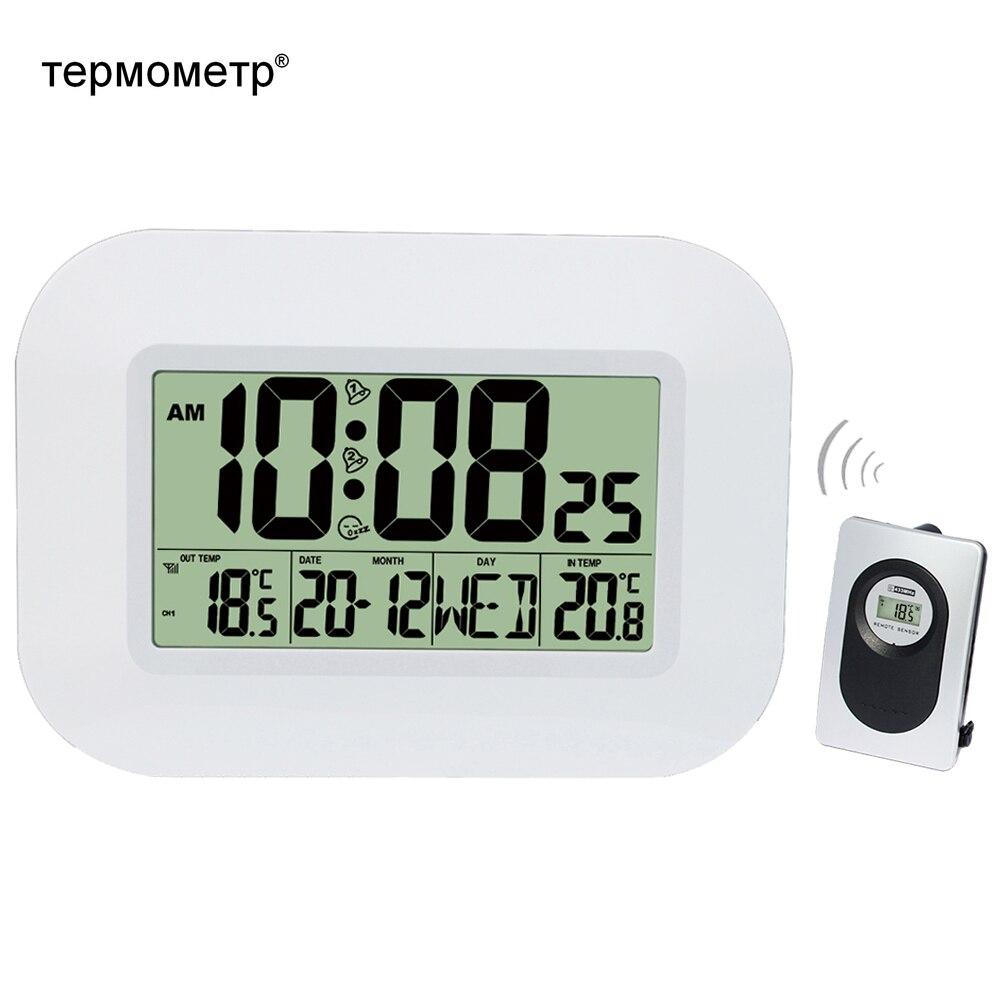 Grande LCD Relógio De Parede Digital Indoor Termômetro w/Transmissor de Temperatura Ao Ar Livre Controlado Por Rádio Despertador Calendário de Mesa RCC