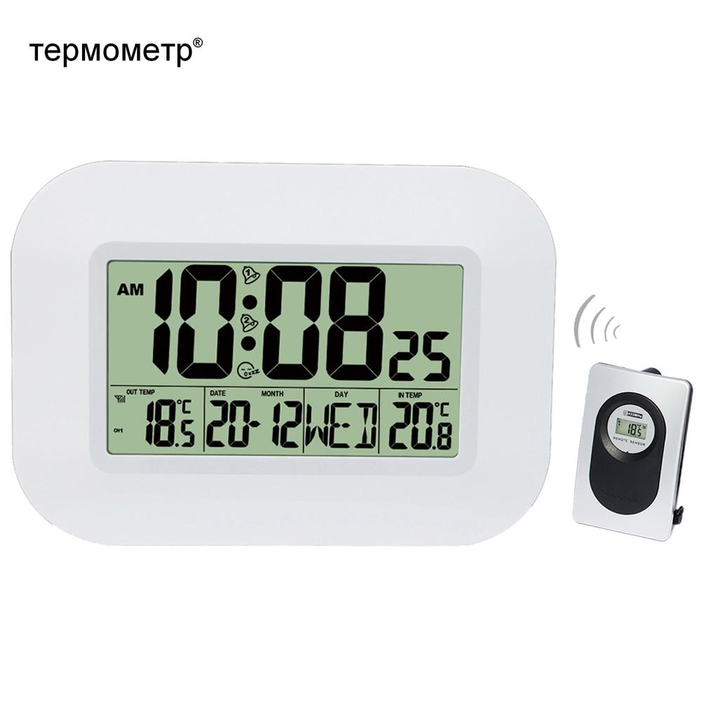 Big LCD Digital Wall Clock Thermometer Temperature Radio  Controlled Alarm Clock RCC Table Desk Calendar for Home School  OfficeWall Clocks
